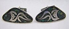 Vintage Mexican Taxco Sterling Silver Modernist Turquoise Owl Cufflinks Set