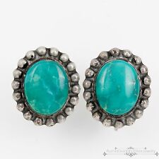 Antique Vintage Native Navajo Sterling Silver Royston Turquoise Disc Earrings!