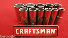 "CRAFTSMAN Socket Set 3/8"" drive SAE 6pt DEEP 11pcs LASER ETCHED"