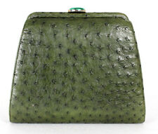 BENNIS EDWARDS Olive Green Ostrich Skin Malachite Clasp Clutch Bag