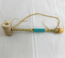 Handmade Authentic Indian Peace Pipe Native American Navajo NM Leather Beaded