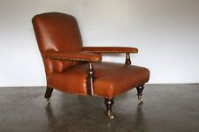 "Mint George Smith ""Edwardian"" Armchair in Tan-Brown Saddle Leather"