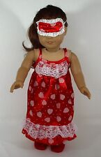 """FOR 18"""" AMERICAN GIRL DOLL PAJAMA WITH SLEEPERS AND 2 SIDED EYE MASK, CLOTHES"""