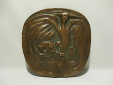 PLAQUE SCULPTURE BRONZE OISEAU STYLISE SIGNEE DATEE J S 77