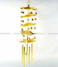 Chinese Feng Shui Windchime 5 Pagoda Bell Wind Chime Golden