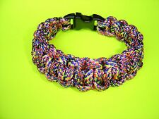 "550 ParaCord Survival Cobra Braided Bracelet Rainbow #2 - Fits up to a 7"" Wrist"