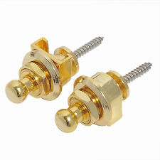 2 Pcs Gold Strap Locks Buttons Round Head For Guitar Bass Schaller Style Parts