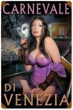 Brunette Pin Up Girl Carnevale Mask Metal Sign Man Cave Garage Shop Club LOR008