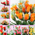"4x 10"" BUSH 84 ORANGE RED PINK silk rose buds wedding flower bouquet posy craft"
