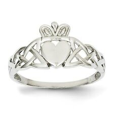 Men's 14k Solid White Gold Claddagh Ring Size 9.5