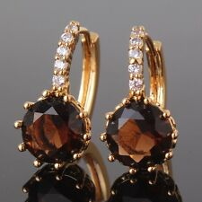 Luxury wedding 24k yellow gold filled lady charm brown smoky topaz hoop earring