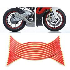 Red Wheel Tyre Reflective Sticker 16 Strips Bicycle Motorcycle Car Decal Supply