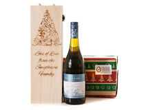 Personalised Wooden Wine Gift Box Christmas Tree Champagne Prosecco Bottle