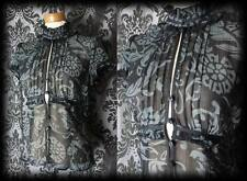Goth Black Grey Sheer Paisley VICTORIAN GOVERNESS High Neck Blouse 18 20 Vintage