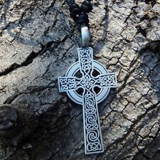 IRISH CELTIC KNOT CROSS ORNATE Pewter Pendant With Cotton Necklace # 591
