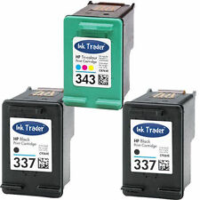 2x HP 337 Black & 1x 343 Colour Ink Cartridge for Photosmart C4180 Printer