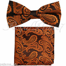 Rust Orange Paisley Pre-tied Bow tie and Pocket Square Hanky Set Formal Party