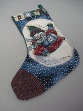 "USA Made NWOT Vicky Howard Snowman Tapestry Christmas Stocking 12"" x 20"" #178Z"