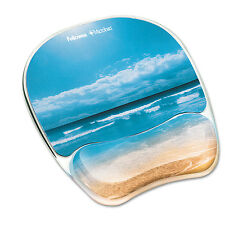 Fellowes Gel Mouse Pad w/Wrist Rest Photo 7 7/8 x 9 1/4 Sandy Beach 9179301