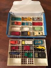 Vintage Lesney Hot Wheels Box Carrying Case Matchbox Lot Of 21 Cars Nice!