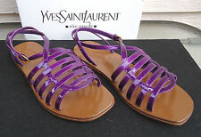 NEW $650 YSL Yves Saint Laurent Purple Sandals 36.5 Patent Leather Gladiator