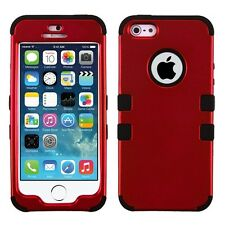 For Apple iPhone SE 5 5S Red Strong TUFF Hybrid Phone Protector Hard Case Cover