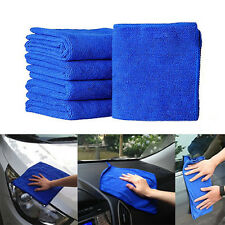 New 5Pcs Soft Absorbent Wash Cloth Car Auto Care Microfiber Cleaning Towels Blue