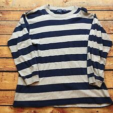 90s VTG GRUNGE Wide Striped SKATE Surf L COLORBLOCK Blue Gray T Shirt guess Bold