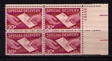 US USA Sc# E21 MNH FVF PLATE# BLOCK Special Delivery Mail