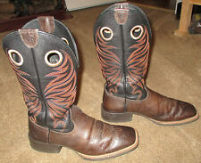 Mens Ariat Sport Rider Wide Square Toe Brown Leather Cowboy Boots sz 9 D