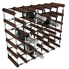 RTA Galvanised Steel/Mahogany Pine 36-Bottle Wine Rack Brown NEW