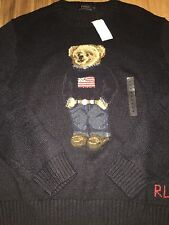 NWT XXL Vintage Polo Ralph Lauren Bear Knit 92 93 USA Flag Sweater Jeans Rare