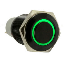 Car 16mm 12V 3A Green LED Light Button Toggle Switch Black Case Metal Sales