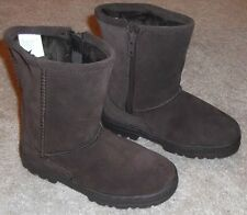 BROWN SUEDE BOOTS GIRLS TODDLER SIZE 7 W/ FAUX FUR & SIDE ZIPPER - BRAND NEW!