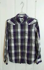 EXPRESS PEARL SNAP WESTERN SHIRT PURPLE GRAY AND WHITE PLAID LONG SLEEVE LARGE