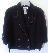 Petite Plus Size 1x 14p 2 Pc Suit Set Jacket Pants Black Cropped IRENE B