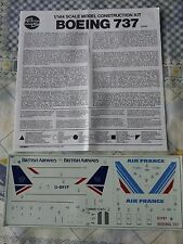 B737-200 British Airways / Air France 1/144 scale decals and instructions only