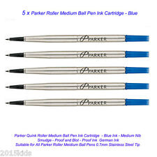 5 Parker Quink Roller Ball Rollerball Pen Refill Medium Nib Blue Ink -USA seller