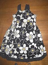 gymboree white yellow black polka dot floral dress girls size 6