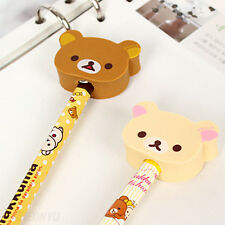 3pcs/set Cute Rilakkuma Head Shaped Eraser Pencil Cap Cover Topper Decoration
