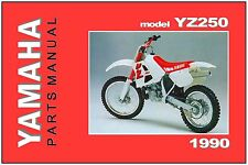 YAMAHA Parts Manual YZ250 YZ250A 1990 VMX Replacement Spares Catalog List