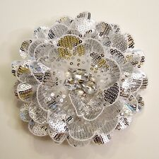 BEADED JEWEL FASHION FLOWER HAIR CLIP/PIN BROOCH