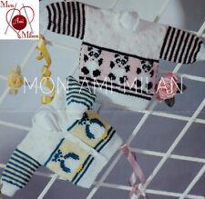 """Knitting Pattern BABIES OWL & PANDA MOTIF SWEATER & CARDIGAN REBORN 16-20"""" - PDF"""
