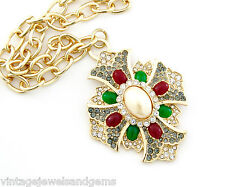 GREEN RED PEARL MALTESE CROSS Gripoix Rhinestone Gold Pendant Statement Necklace