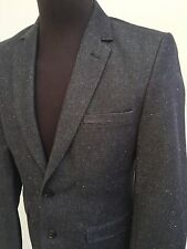 L@@K H&M MENS WOOL BLEND SUIT JACKET - XSMALL GREY FLECKED BUTTON-UP COAT 36R