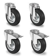 Satz Transportgeräterollen Gummi 100 mm Rückenloch Lenkrolle mit ohne Bremse