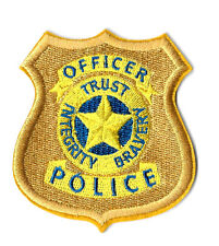 Police - Badge - Officer - Integrity - Cop - Protect - Embroidered Iron On Patch