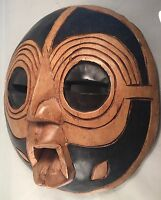 Large Hand Carved Hand Painted Wooden Tribal African Folk Art Ceremonial Mask