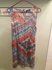 Guess Bright Sleeveless Dress Red Blue Green White Orange New w Tags Sz 12 $118