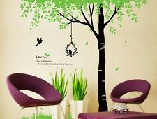 GREEN FAMILY TREE Vinyl Wall Decal Sticker Art Mural  baby kids BED room decor
